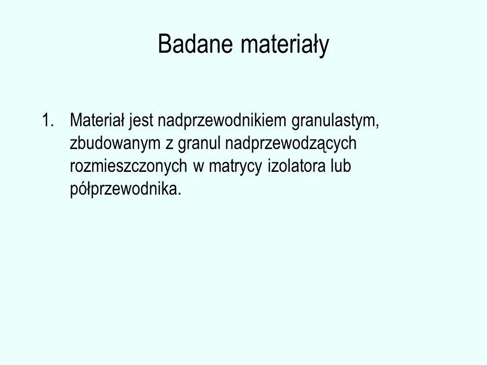 Badane materiały 1.Materiał jest nadprzewodnikiem granulastym, zbudowanym z granul nadprzewodzących rozmieszczonych w matrycy izolatora lub półprzewod