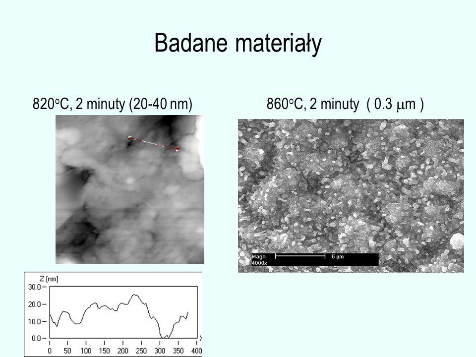 Badane materiały 860 o C, 2 minuty ( 0.3  m ) 820 o C, 2 minuty (20-40 nm)