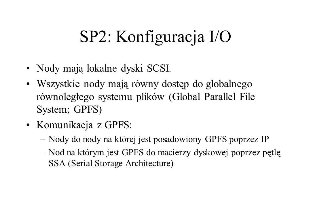 SP2: Konfiguracja I/O Nody mają lokalne dyski SCSI. Wszystkie nody mają równy dostęp do globalnego równoległego systemu plików (Global Parallel File S
