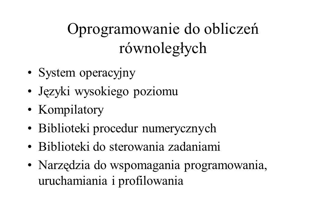 Oprogramowanie do obliczeń równoległych System operacyjny Języki wysokiego poziomu Kompilatory Biblioteki procedur numerycznych Biblioteki do sterowania zadaniami Narzędzia do wspomagania programowania, uruchamiania i profilowania