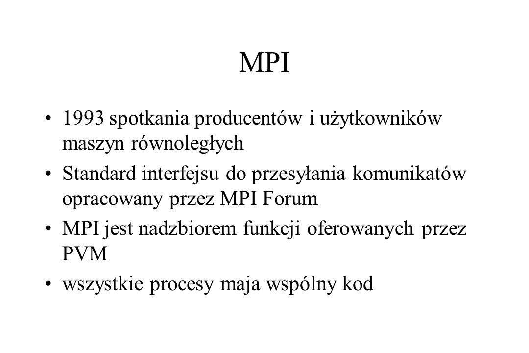 MPI 1993 spotkania producentów i użytkowników maszyn równoległych Standard interfejsu do przesyłania komunikatów opracowany przez MPI Forum MPI jest nadzbiorem funkcji oferowanych przez PVM wszystkie procesy maja wspólny kod