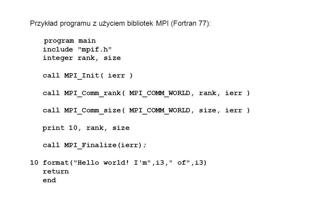 Przykład programu z użyciem bibliotek MPI (Fortran 77): program main include mpif.h integer rank, size call MPI_Init( ierr ) call MPI_Comm_rank( MPI_COMM_WORLD, rank, ierr ) call MPI_Comm_size( MPI_COMM_WORLD, size, ierr ) print 10, rank, size call MPI_Finalize(ierr); 10 format( Hello world.