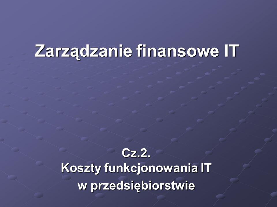 Cz.2. Koszty funkcjonowania IT w przedsiębiorstwie Zarządzanie finansowe IT