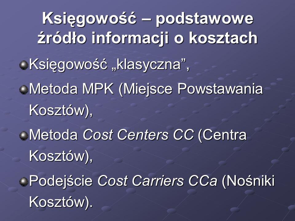"""Księgowość – podstawowe źródło informacji o kosztach Księgowość """"klasyczna"""", Metoda MPK (Miejsce Powstawania Kosztów), Metoda Cost Centers CC (Centra"""