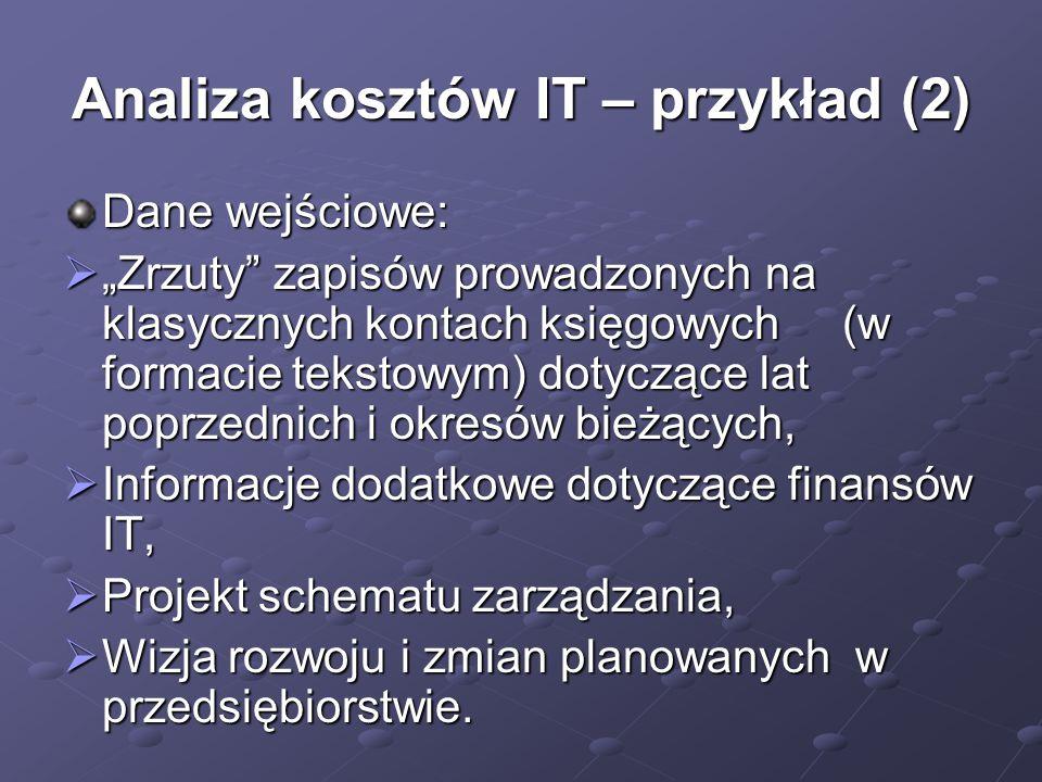 """Analiza kosztów IT – przykład (2) Dane wejściowe:  """"Zrzuty"""" zapisów prowadzonych na klasycznych kontach księgowych (w formacie tekstowym) dotyczące l"""