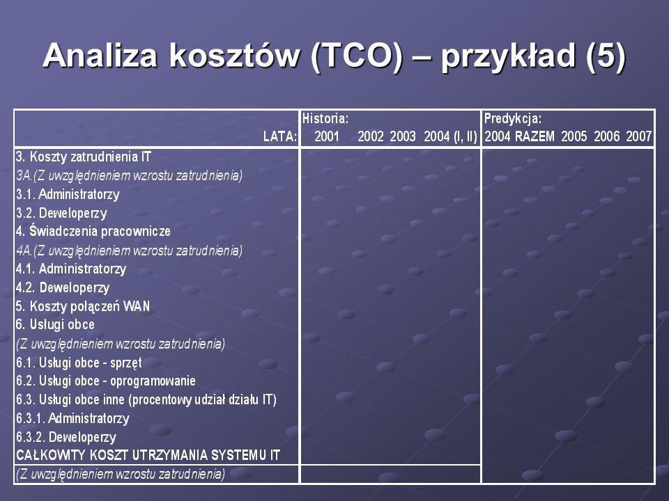 Analiza kosztów (TCO) – przykład (5)