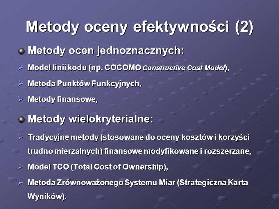 Metody oceny efektywności (2) Metody ocen jednoznacznych:  Model linii kodu (np. COCOMO Constructive Cost Model ),  Metoda Punktów Funkcyjnych,  Me