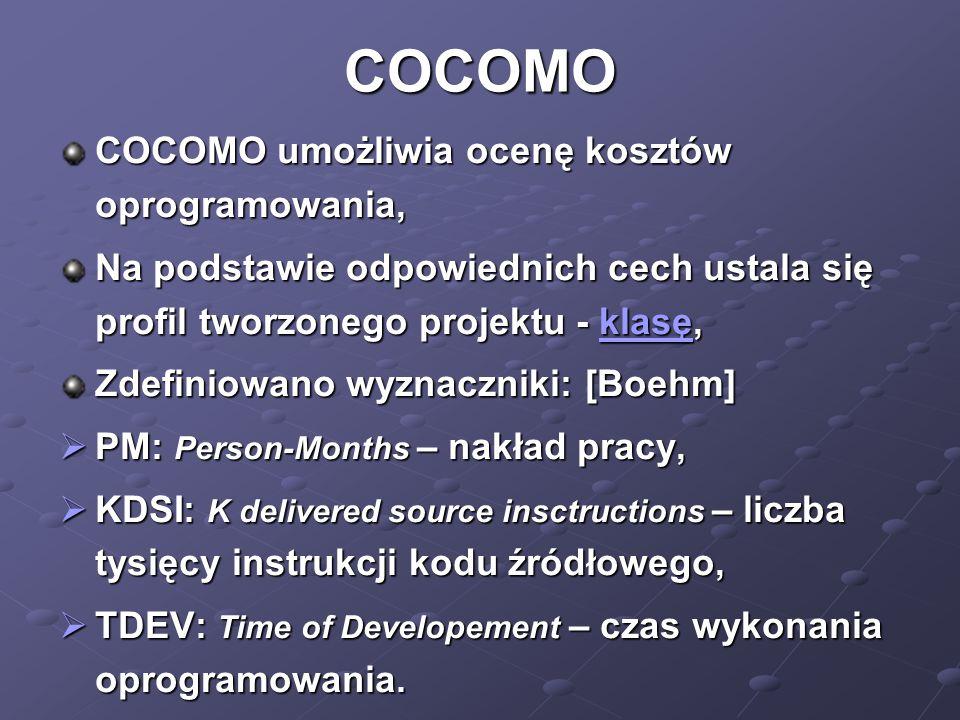 COCOMO COCOMO umożliwia ocenę kosztów oprogramowania, Na podstawie odpowiednich cech ustala się profil tworzonego projektu - klasę, klasę Zdefiniowano