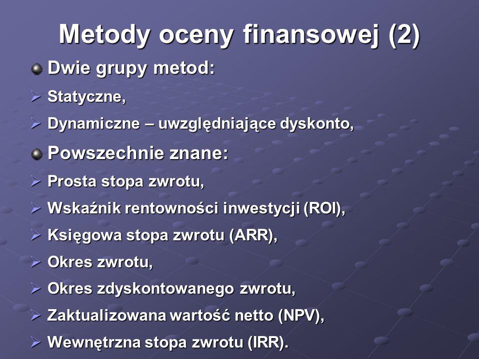 Metody oceny finansowej (2) Dwie grupy metod:  Statyczne,  Dynamiczne – uwzględniające dyskonto, Powszechnie znane:  Prosta stopa zwrotu,  Wskaźni