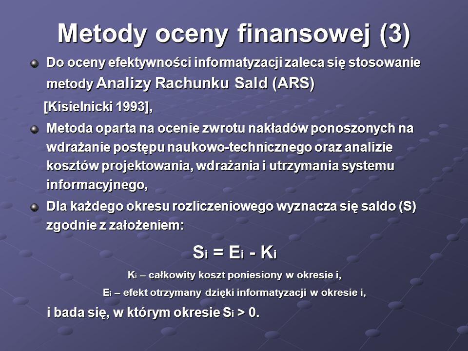 Metody oceny finansowej (3) Do oceny efektywności informatyzacji zaleca się stosowanie metody Analizy Rachunku Sald (ARS) [Kisielnicki 1993], [Kisieln