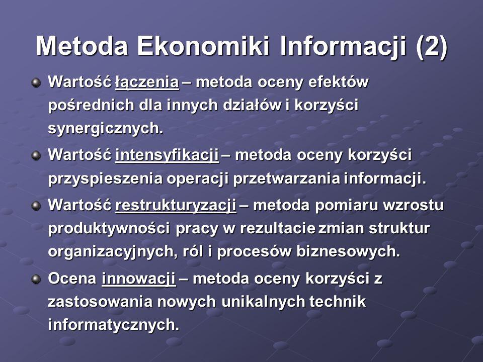 Metoda Ekonomiki Informacji (2) Wartość łączenia – metoda oceny efektów pośrednich dla innych działów i korzyści synergicznych. Wartość intensyfikacji