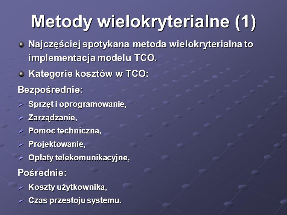 Metody wielokryterialne (1) Najczęściej spotykana metoda wielokryterialna to implementacja modelu TCO. Kategorie kosztów w TCO: Bezpośrednie:  Sprzęt