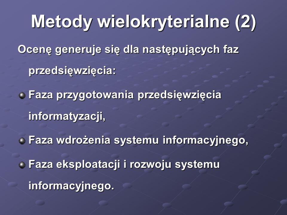 Metody wielokryterialne (2) Ocenę generuje się dla następujących faz przedsięwzięcia: Faza przygotowania przedsięwzięcia informatyzacji, Faza wdrożeni