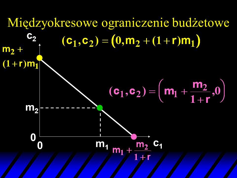 c1c1 c2c2 m2m2 m1m1 0 0 Międzyokresowe ograniczenie budżetowe