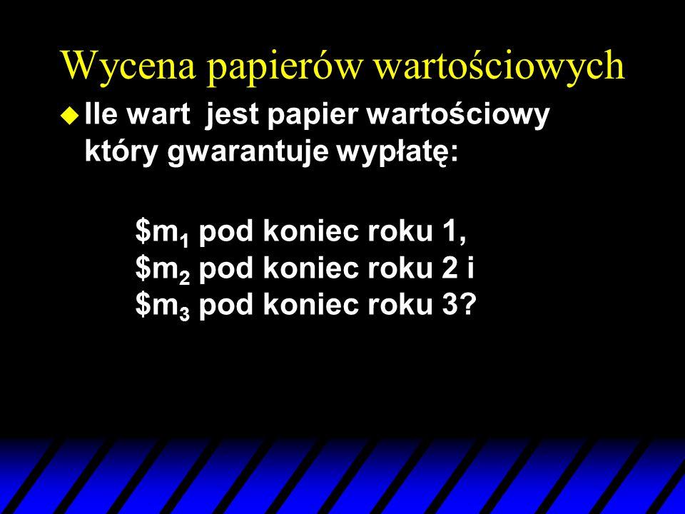 Wycena papierów wartościowych u Ile wart jest papier wartościowy który gwarantuje wypłatę: $m 1 pod koniec roku 1, $m 2 pod koniec roku 2 i $m 3 pod k