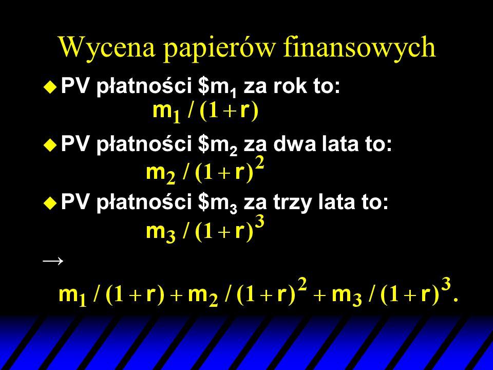 Wycena papierów finansowych u PV płatności $m 1 za rok to: u PV płatności $m 2 za dwa lata to: u PV płatności $m 3 za trzy lata to: →