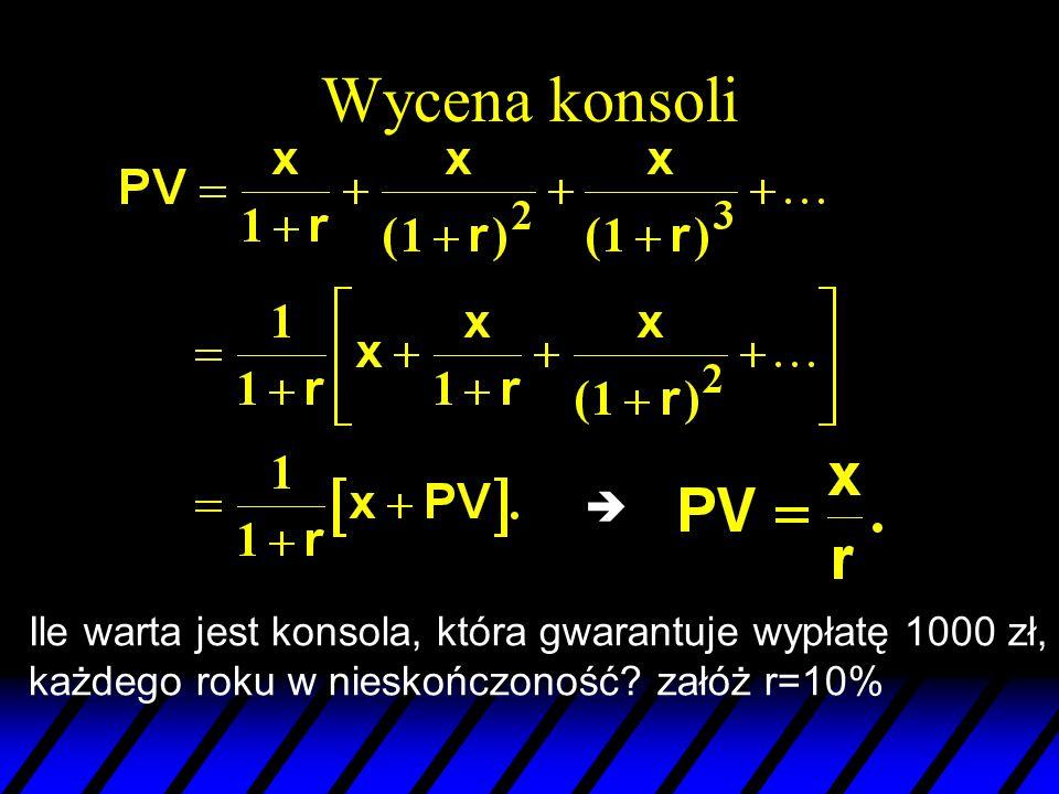 Wycena konsoli  Ile warta jest konsola, która gwarantuje wypłatę 1000 zł, każdego roku w nieskończoność? załóż r=10%
