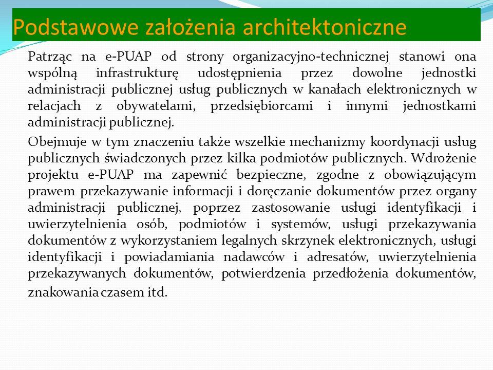Podstawowe założenia architektoniczne Na podstawie projektu Wrota Polski utworzono Elektroniczną Platformę Usług Administracji Publicznej (ePUAP), któ