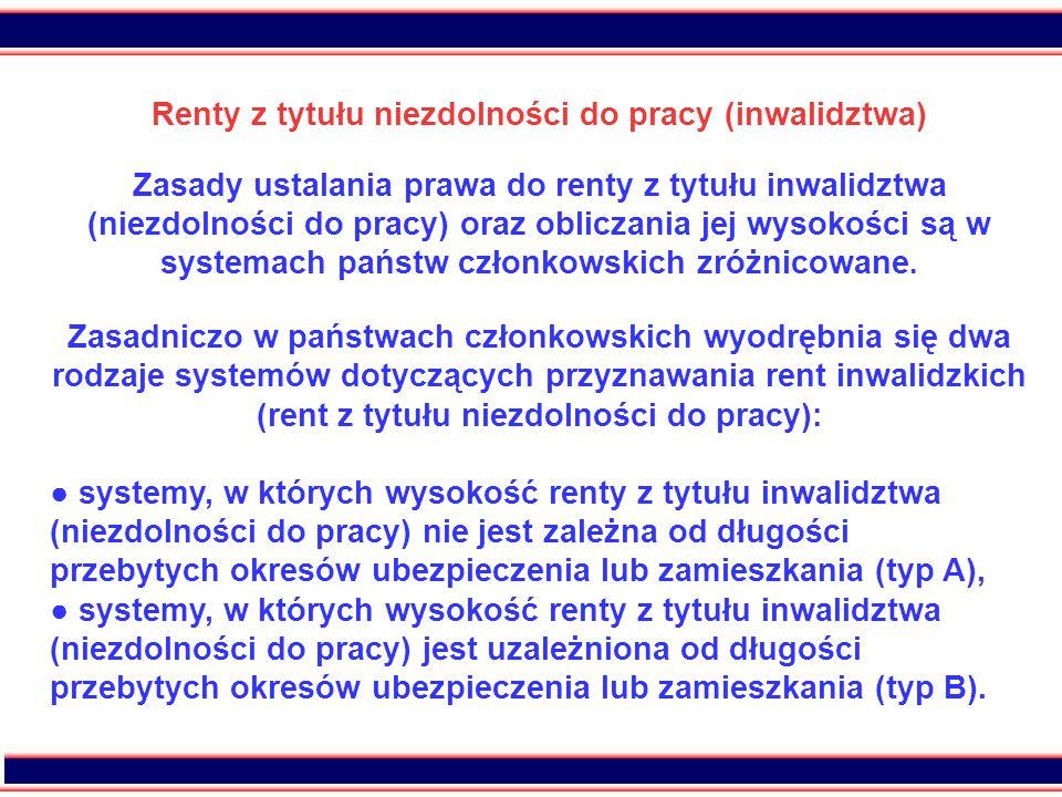 38 Renty z tytułu niezdolności do pracy (inwalidztwa) Zasady ustalania prawa do renty z tytułu inwalidztwa (niezdolności do pracy) oraz obliczania jej