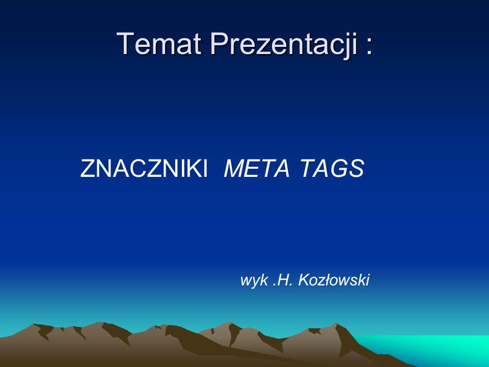 Spis Treści: 1.Znacznik Meta 2.Meta tags naszej strony WWW 3.Przykładowe tagi 4.Meta tags w przypadku stron HTML 5.