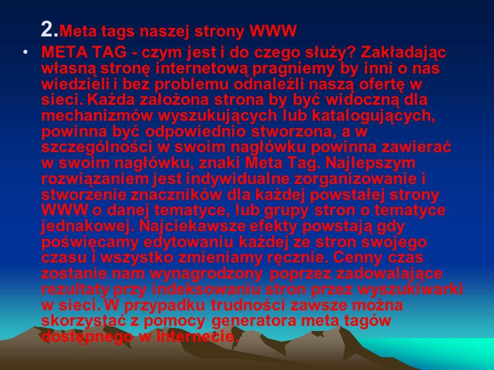 2. Meta tags naszej strony WWW META TAG - czym jest i do czego służy.