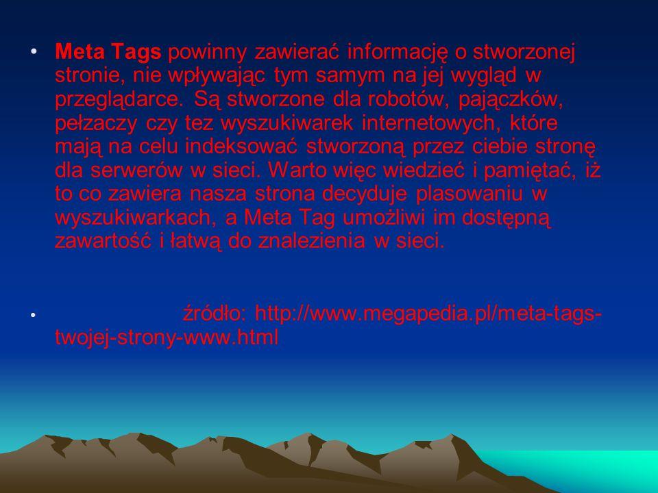 Meta Tags powinny zawierać informację o stworzonej stronie, nie wpływając tym samym na jej wygląd w przeglądarce.