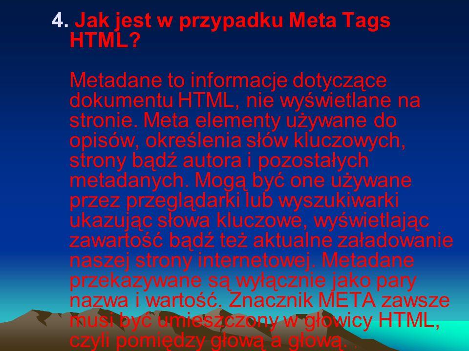 4. Jak jest w przypadku Meta Tags HTML.