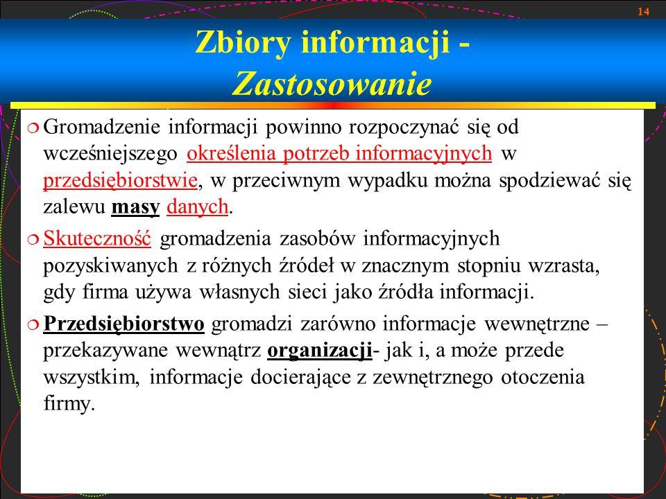 14 Zbiory informacji - Zastosowanie  Gromadzenie informacji powinno rozpoczynać się od wcześniejszego określenia potrzeb informacyjnych w przedsiębio
