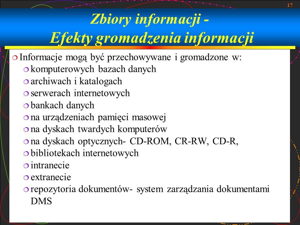 17 Zbiory informacji - Efekty gromadzenia informacji  Informacje mogą być przechowywane i gromadzone w:  komputerowych bazach danych  archiwach i k