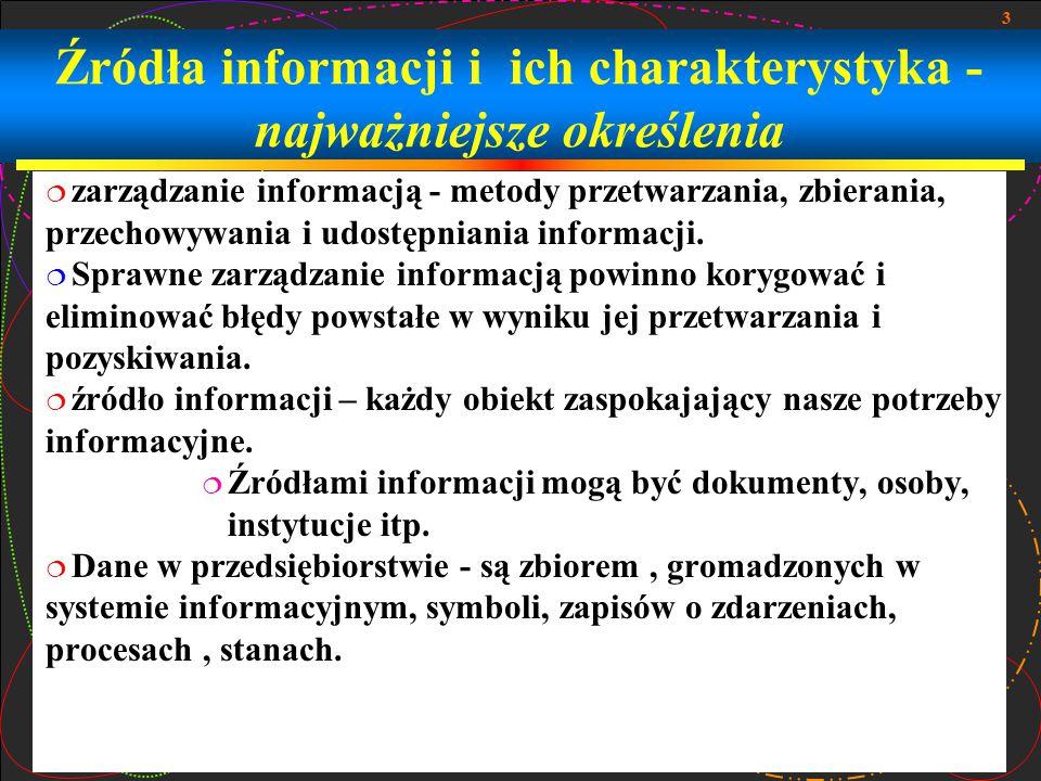 14 Zbiory informacji - Zastosowanie  Gromadzenie informacji powinno rozpoczynać się od wcześniejszego określenia potrzeb informacyjnych w przedsiębiorstwie, w przeciwnym wypadku można spodziewać się zalewu masy danych.określenia potrzeb informacyjnych przedsiębiorstwiedanych  Skuteczność gromadzenia zasobów informacyjnych pozyskiwanych z różnych źródeł w znacznym stopniu wzrasta, gdy firma używa własnych sieci jako źródła informacji.