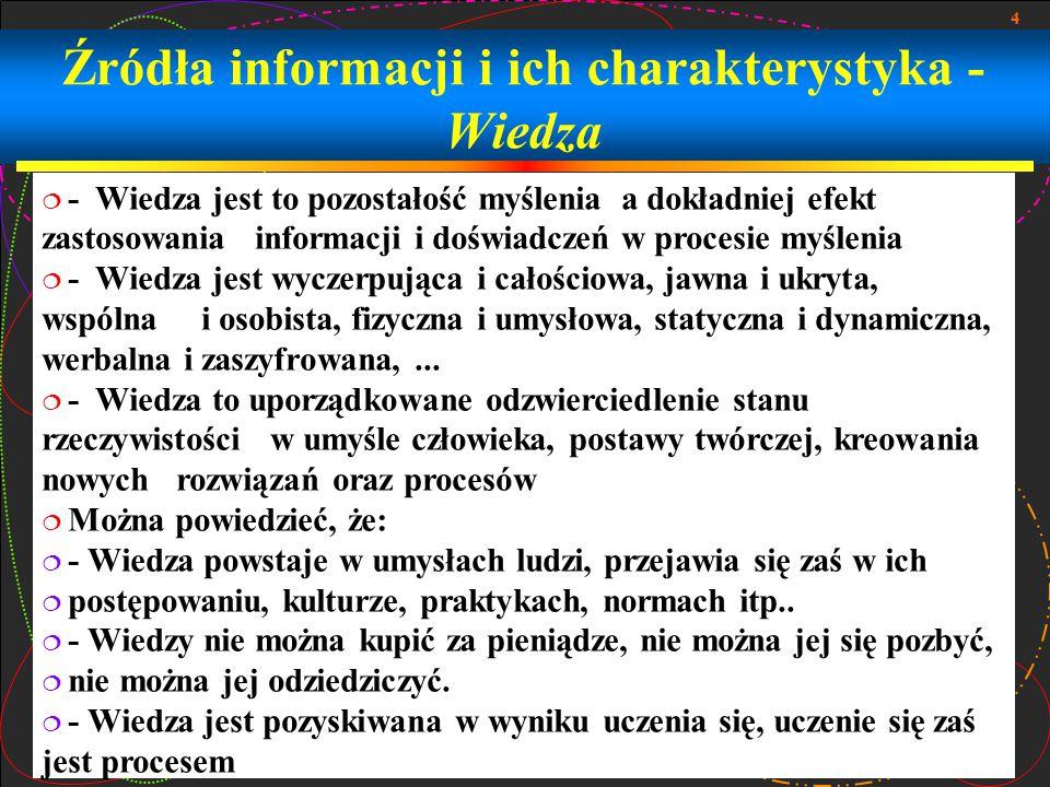 4 Źródła informacji i ich charakterystyka - Wiedza  - Wiedza jest to pozostałość myślenia a dokładniej efekt zastosowania informacji i doświadczeń w