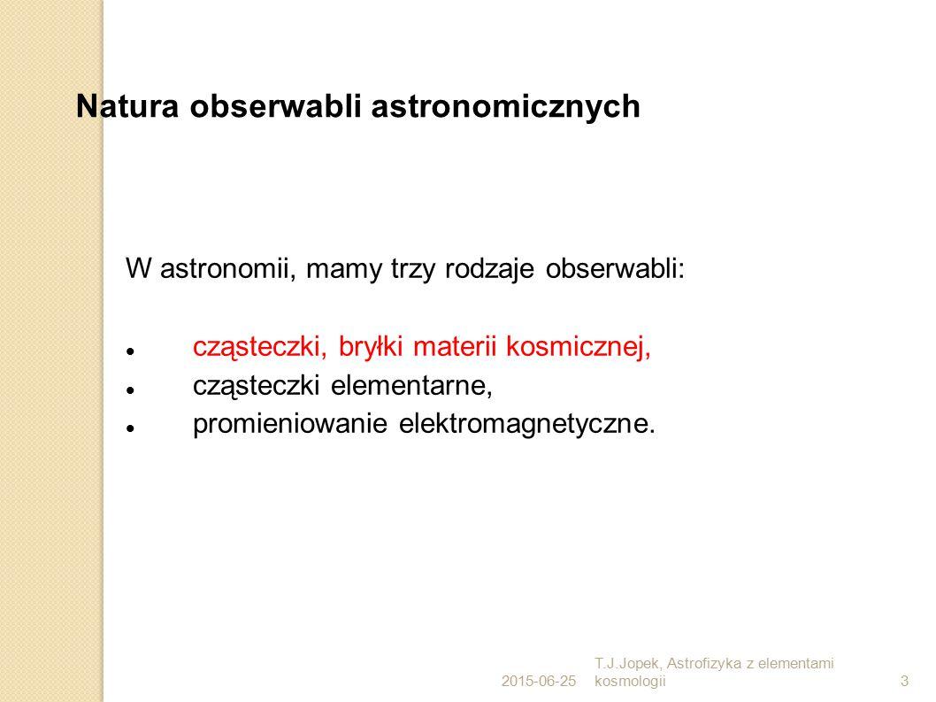2015-06-25 T.J.Jopek, Astrofizyka z elementami kosmologii3 Natura obserwabli astronomicznych W astronomii, mamy trzy rodzaje obserwabli: cząsteczki, bryłki materii kosmicznej, cząsteczki elementarne, promieniowanie elektromagnetyczne.