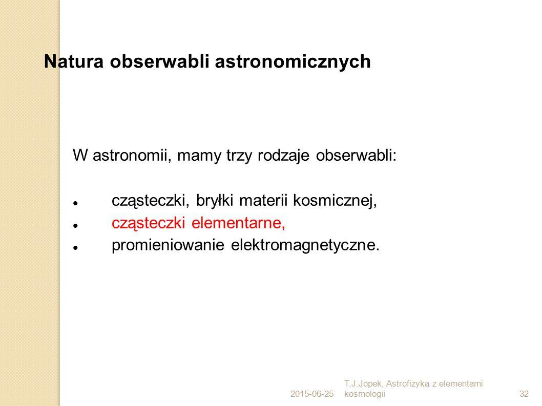 2015-06-25 T.J.Jopek, Astrofizyka z elementami kosmologii32 Natura obserwabli astronomicznych W astronomii, mamy trzy rodzaje obserwabli: cząsteczki,