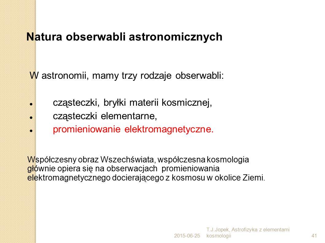 2015-06-25 T.J.Jopek, Astrofizyka z elementami kosmologii41 Natura obserwabli astronomicznych W astronomii, mamy trzy rodzaje obserwabli: cząsteczki, bryłki materii kosmicznej, cząsteczki elementarne, promieniowanie elektromagnetyczne.