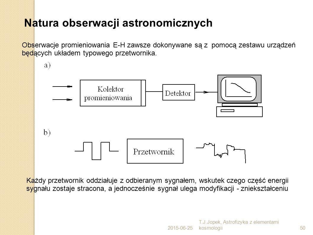 2015-06-25 T.J.Jopek, Astrofizyka z elementami kosmologii50 Natura obserwacji astronomicznych Obserwacje promieniowania E-H zawsze dokonywane są z pomocą zestawu urządzeń będących układem typowego przetwornika.