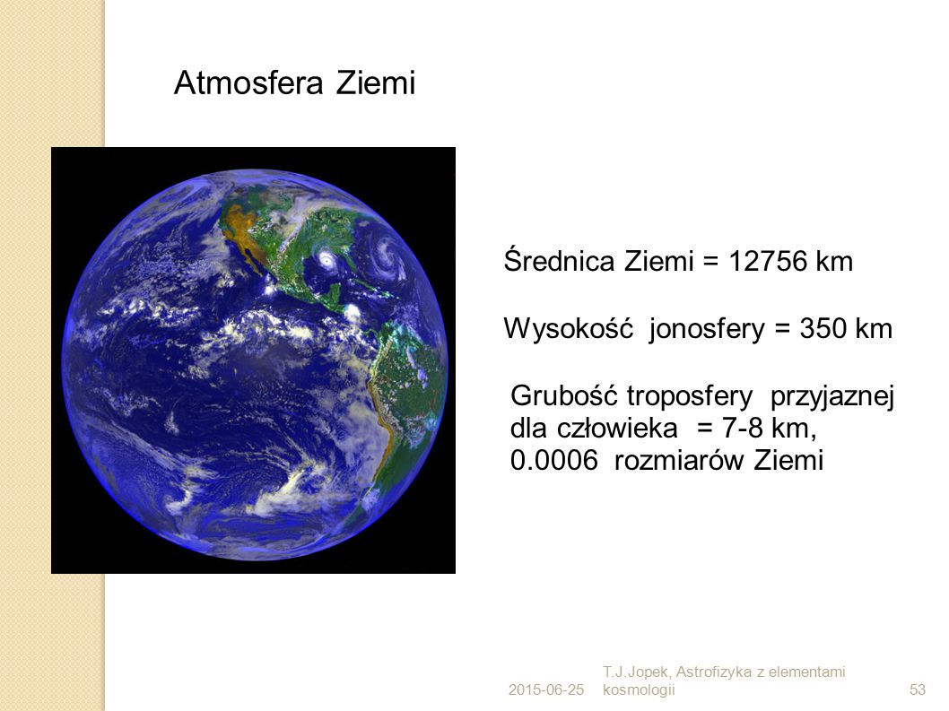 2015-06-25 T.J.Jopek, Astrofizyka z elementami kosmologii53 Atmosfera Ziemi Średnica Ziemi = 12756 km Wysokość jonosfery = 350 km Grubość troposfery przyjaznej dla człowieka = 7-8 km, 0.0006 rozmiarów Ziemi