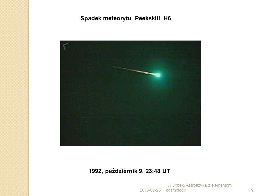 9 Spadek meteorytu Peekskill H6 1992, październik 9, 23:48 UT 2015-06-25 T.J.Jopek, Astrofizyka z elementami kosmologii9