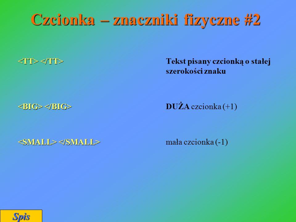 Czcionka – znaczniki fizyczne #2 Tekst pisany czcionką o stałej szerokości znaku DUŻA czcionka (+1) mała czcionka (-1) Spis