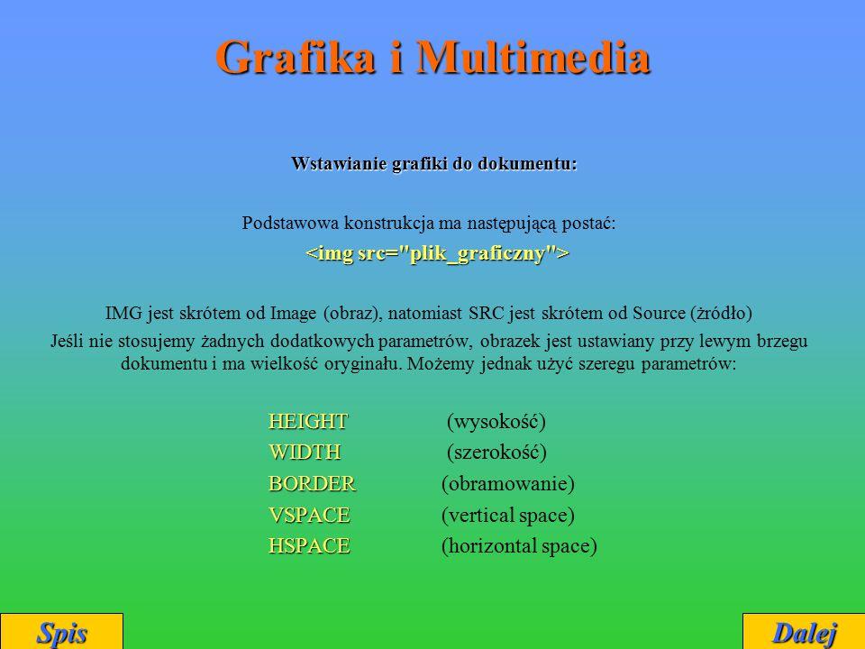 Grafika i Multimedia Wstawianie grafiki do dokumentu: Wstawianie grafiki do dokumentu: Podstawowa konstrukcja ma następującą postać: IMG jest skrótem