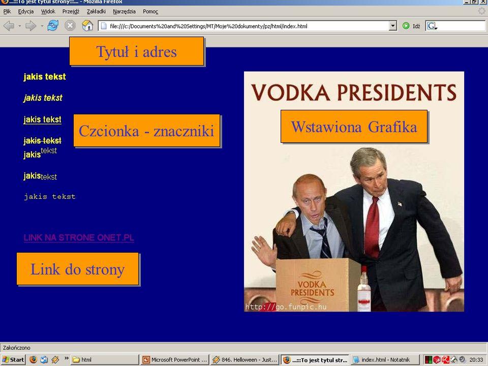 Czcionka - znaczniki Link do strony Wstawiona Grafika Tytuł i adres