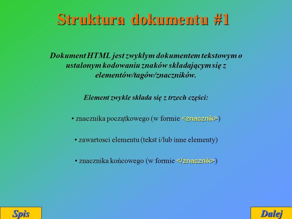 Struktura dokumentu #1 Dokument HTML jest zwykłym dokumentem tekstowym o ustalonym kodowaniu znaków składającym się z elementów/tagów/znaczników. Elem