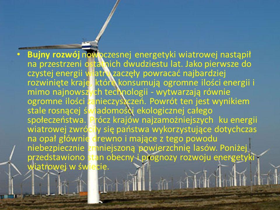 Bujny rozwój nowoczesnej energetyki wiatrowej nastąpił na przestrzeni ostatnich dwudziestu lat. Jako pierwsze do czystej energii wiatru zaczęły powrac