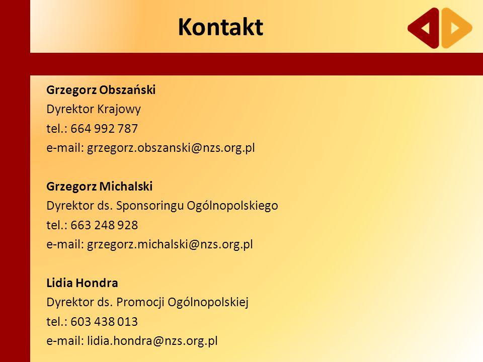 Grzegorz Obszański Dyrektor Krajowy tel.: 664 992 787 e-mail: grzegorz.obszanski@nzs.org.pl Grzegorz Michalski Dyrektor ds. Sponsoringu Ogólnopolskieg