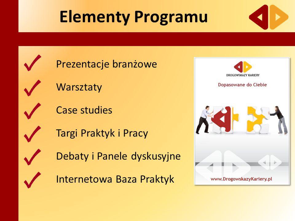Elementy Programu Prezentacje branżowe Warsztaty Case studies Targi Praktyk i Pracy Debaty i Panele dyskusyjne Internetowa Baza Praktyk