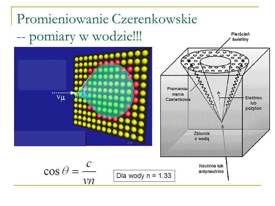 Promieniowanie Czerenkowskie Elektron powoduje zmianę pozycji elektronów w atomach znajdujących się w pobliżu. Elektrony po chwili wracają na swoje po