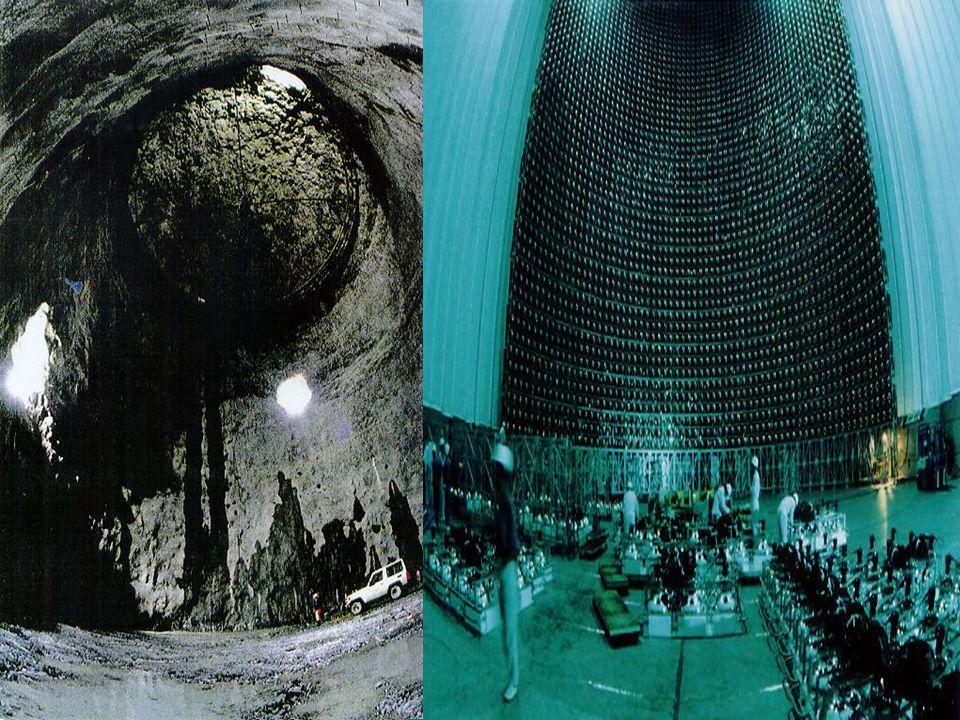 Super Kamikande – Japonia (1996) 50 000 ton destylowanej wody. Kilometr pod ziemią. Umieszczony w kopalni Cynku. W ciągu 300 dni SK zarejestrowała 44,