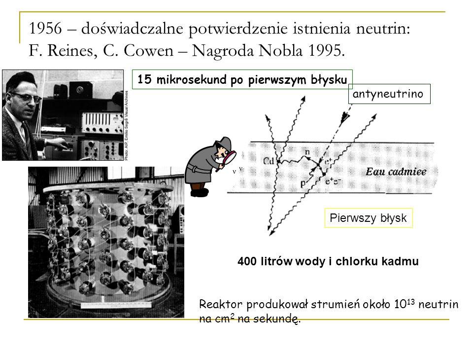 400 litrów wody i chlorku kadmu antyneutrino 1956 – doświadczalne potwierdzenie istnienia neutrin: F.