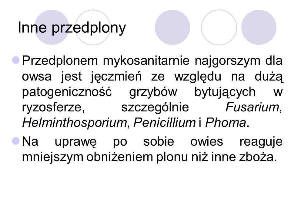 Inne przedplony Przedplonem mykosanitarnie najgorszym dla owsa jest jęczmień ze względu na dużą patogeniczność grzybów bytujących w ryzosferze, szczególnie Fusarium, Helminthosporium, Penicillium i Phoma.