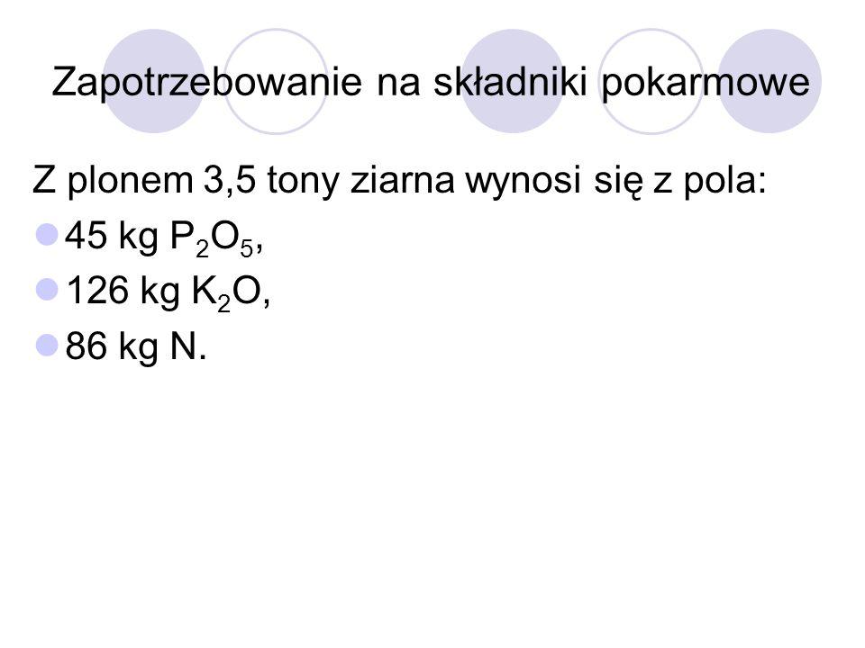 Zapotrzebowanie na składniki pokarmowe Z plonem 3,5 tony ziarna wynosi się z pola: 45 kg P 2 O 5, 126 kg K 2 O, 86 kg N.