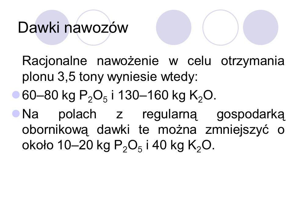 Dawki nawozów Racjonalne nawożenie w celu otrzymania plonu 3,5 tony wyniesie wtedy: 60–80 kg P 2 O 5 i 130–160 kg K 2 O.